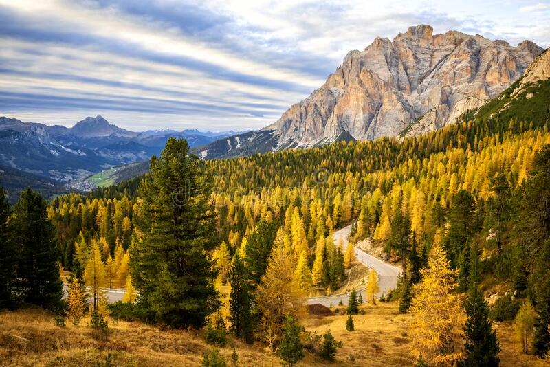 Conturines group, autumn view of Italian Dolomite peaks at sunset. Trentino Alto Adige, Italy. Cima Cunturines is a mountain of the Alps in the Dolomites, 3 064 stock photo