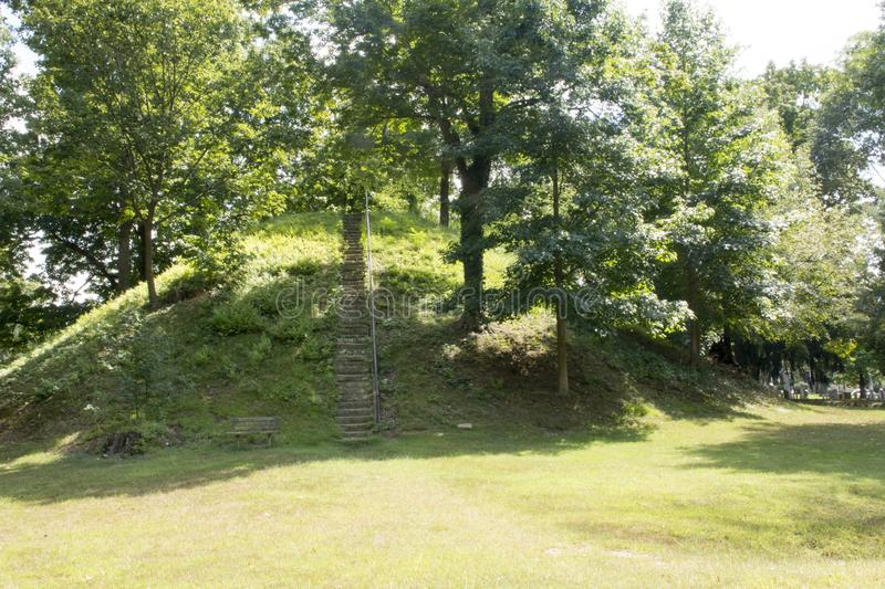 Conus Mound in Marietta, ohio. Indian Burial Mound in Marietta, Ohio named Conus for its shape. The mound is located in The Mound Cemetery, oddly enough, an royalty free stock images