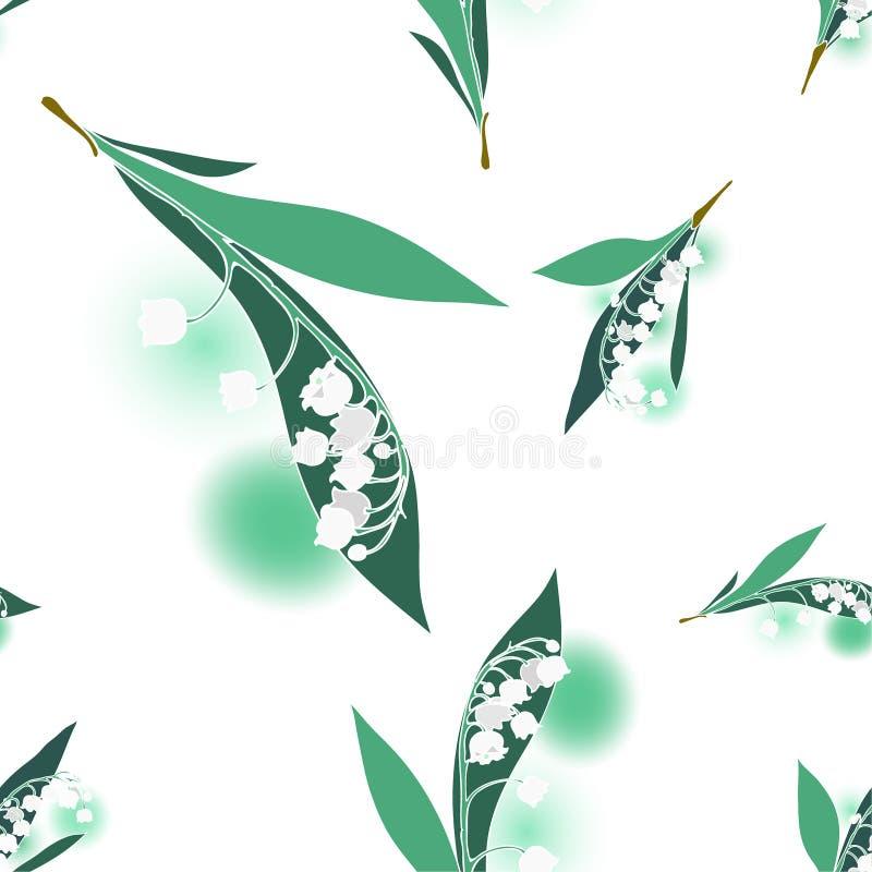 Convallariamajalis, Lilly av dalblommorna och sidorna, sömlös vektormodell vektor illustrationer