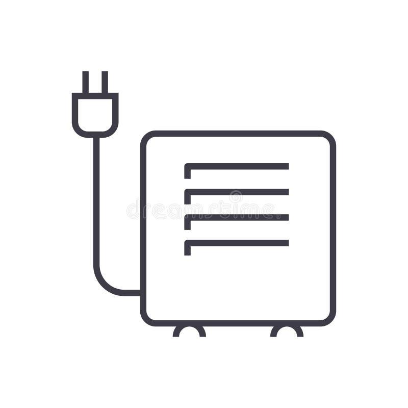 Convecteur, ligne icône, signe, illustration de vecteur d'appareil de chauffage sur le fond, courses editable illustration de vecteur