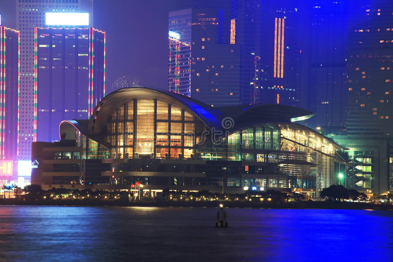 Convención de Hong-Kong y centro de exposición en noche foto de archivo
