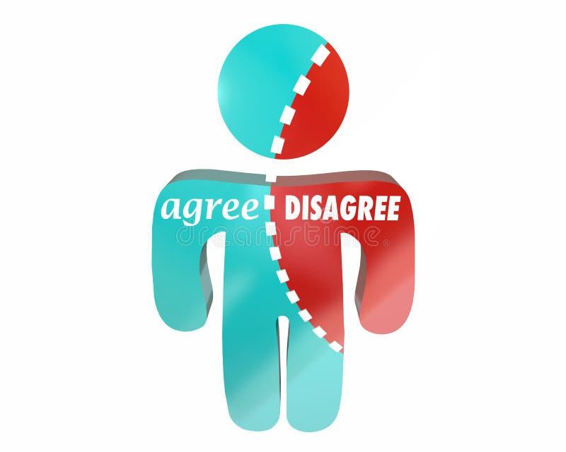 Convenez contre sont en désaccord Person Torn illustration libre de droits
