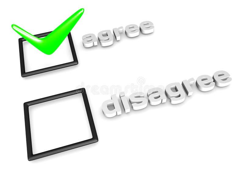 Convenez/soyez en désaccord concept de décision. illustration libre de droits