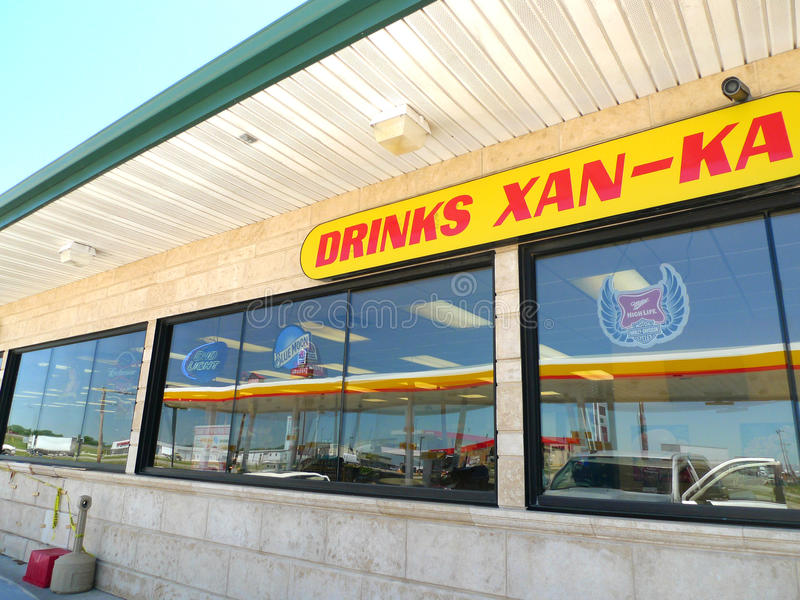 Convenience store in Tonkawa, OK features American Indian Language stock photos