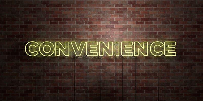 CONVENIENCIA - muestra fluorescente del tubo de neón en el ladrillo - vista delantera - imagen común libre rendida 3D de los dere libre illustration