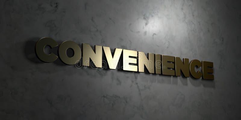 Conveniencia - texto del oro en fondo negro - imagen común libre rendida 3D de los derechos stock de ilustración