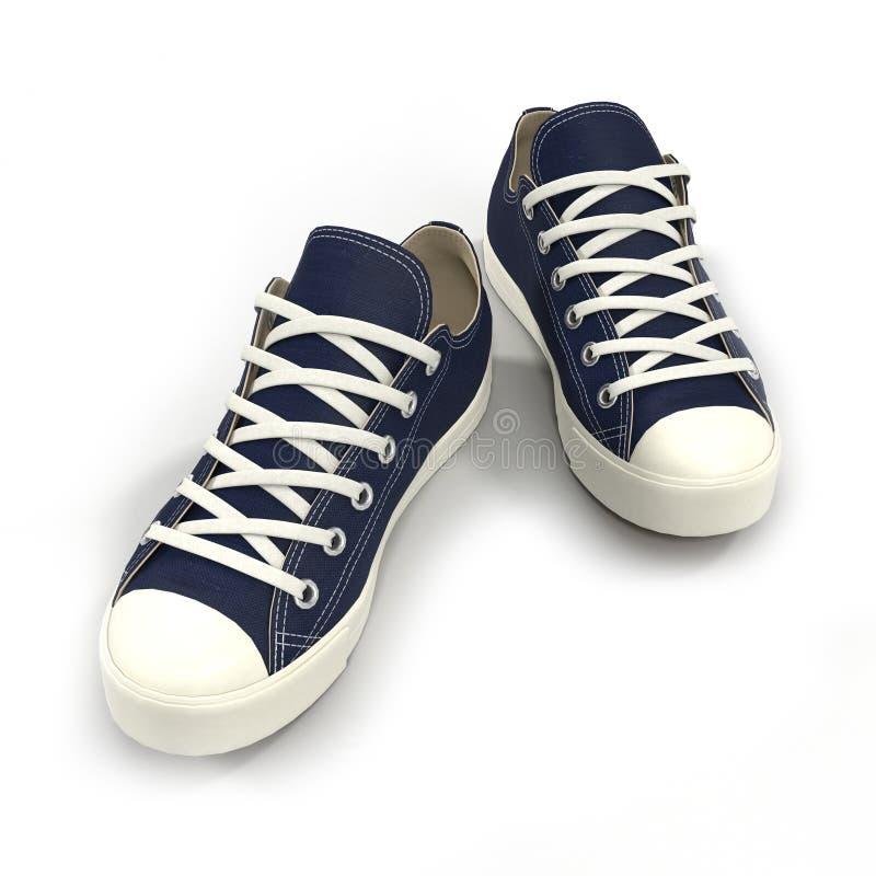 Conveniente para las zapatillas de deporte para hombre de los deportes Presentado en un blanco ilustración 3D stock de ilustración