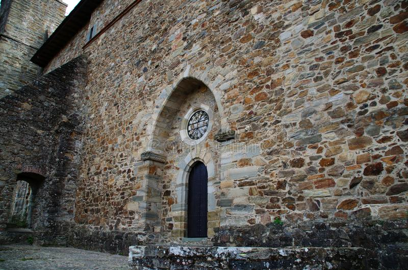 Entrance to the church of Villafranca del Bierzo Leon Spain. Of that Convent, only the Church is conserved as the only edification. It is a Romanesque-Gothic royalty free stock photography