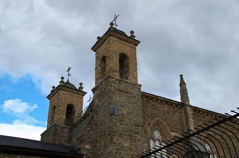Church of Villafranca del Bierzo Leon Spain. Of that Convent, only the Church is conserved as the only edification. It is a Romanesque-Gothic style temple royalty free stock photo