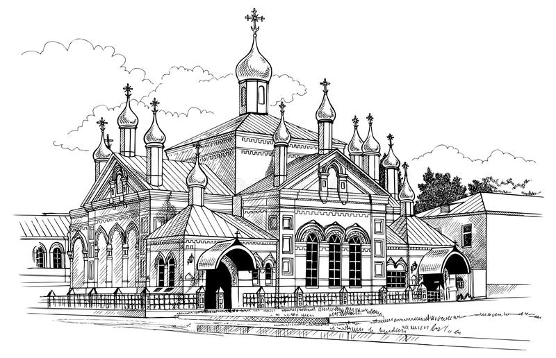 Convent drawing stock illustration