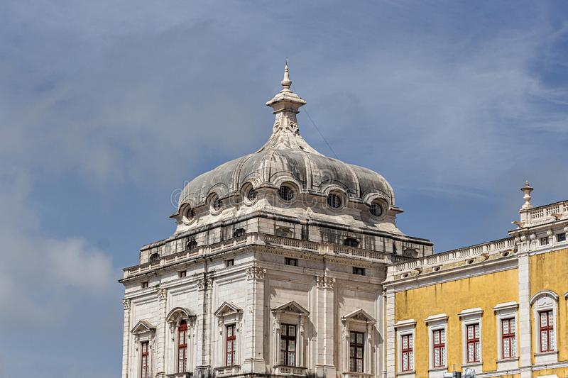 The Convent of Mafra. In Mafra, in the district of Lisbon, in Portugal. It is composed of a monumental palace and monastery, ancient, architecture, art royalty free stock images