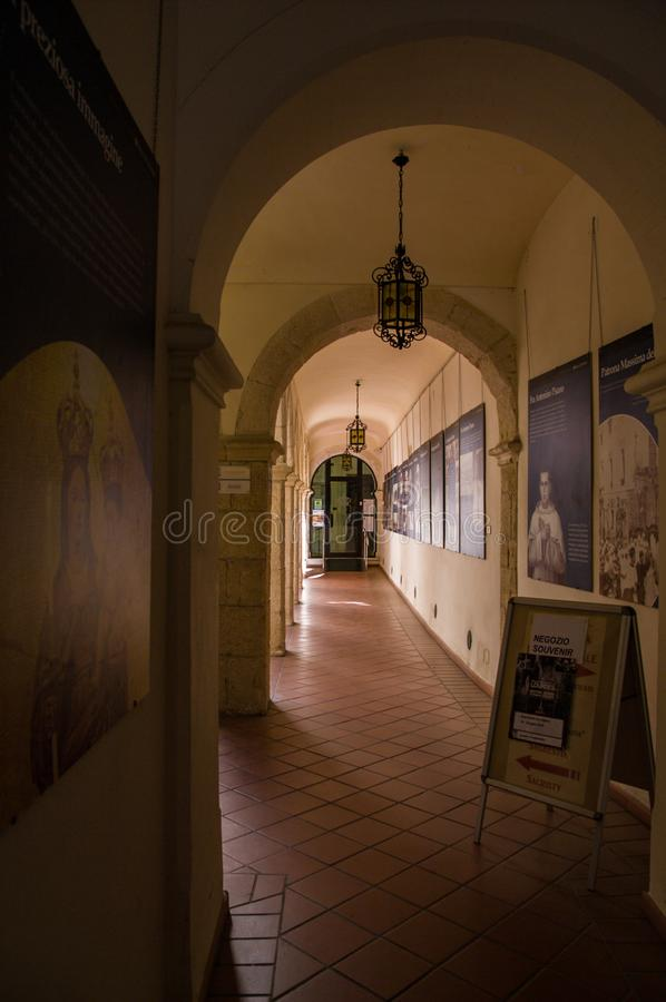 Sardinia. Cagliari. Sanctuary of Nostra Signora di Bonaria. Convent of the Mercedarian Fathers. In a portico of the cloister there is a section of the Museum stock images