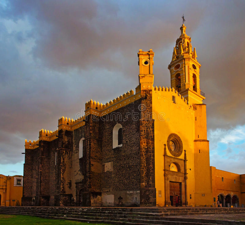 Convent of San Gabriel in Cholula, Mexico. View of Convent of San Gabriel at sunset in Cholula, Mexico royalty free stock photos