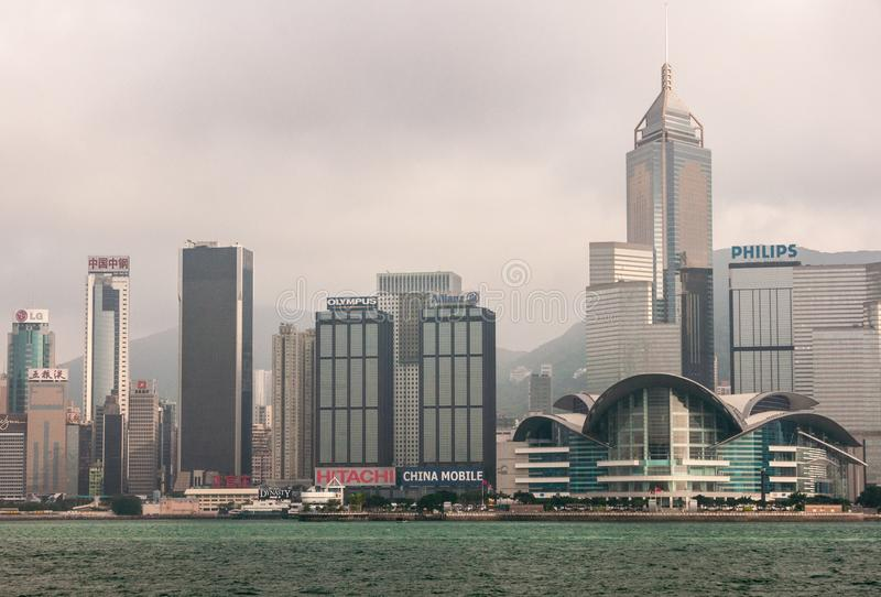 Convention Center and Central Plaza tower skyline Hong Kong Island, China stock photo
