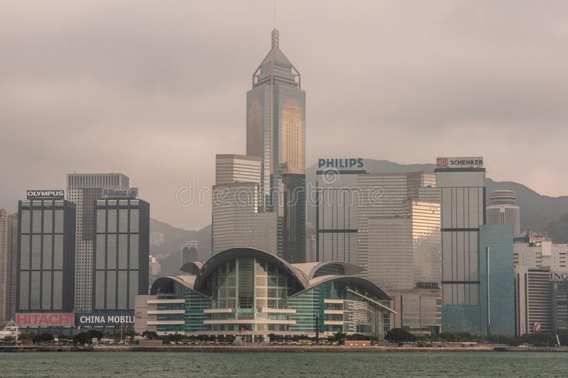 Convention Center and Central Plaza tower skyline Hong Kong Island, China stock photography