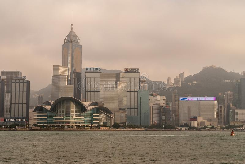 Convention Center and Central Plaza tower skyline Hong Kong Island, China royalty free stock photo