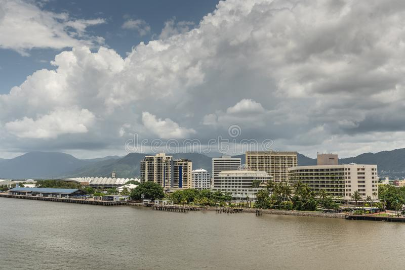 Convention Center, cruise terminal, Hotels and casinos in harbor of Cairns, Australia stock photo
