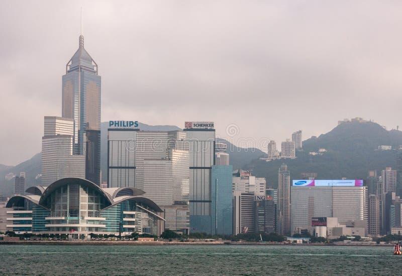 Convention Center och central Plazatornhorisont Hong Kong Island, Kina royaltyfri fotografi