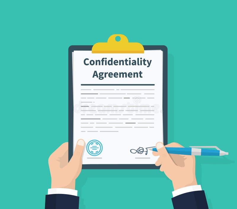 Convention de confidentialité Consentement de l'information de prise d'homme Stylo à disposition signant des papiers Presse-papie illustration stock