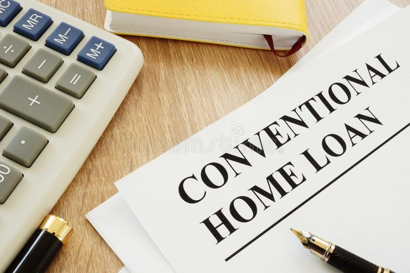 Conventional home loan form. Conventional home loan form and a pen royalty free stock photo