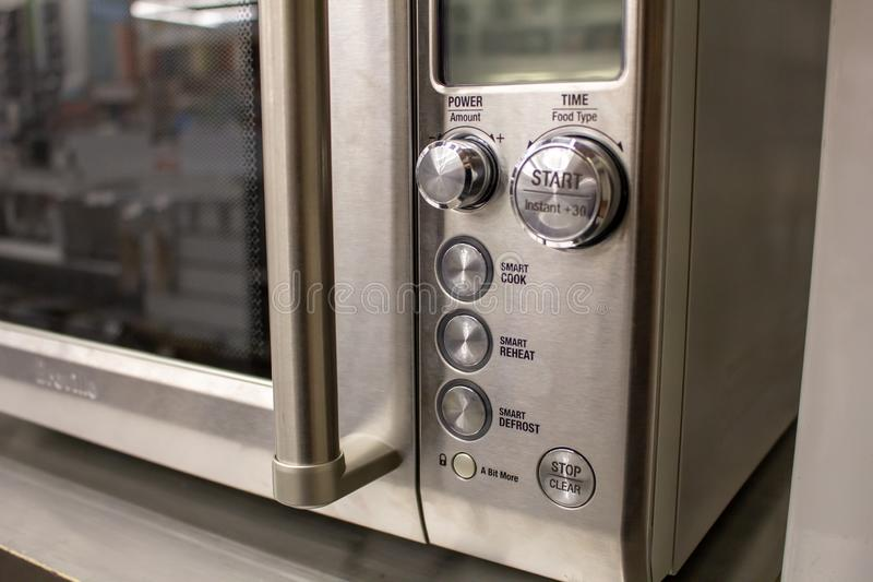 Conventional oven. A close up of the buttons on a conventional oven royalty free stock photography