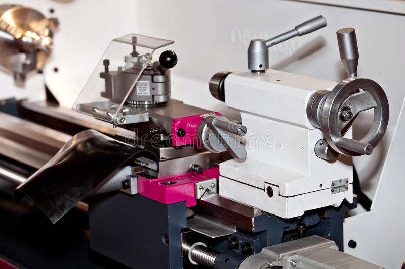 Conventional Precision Lathe machine. With servo drive - easy to operate, more reliable, more precise, for higher loads and reduced maintenance stock photo