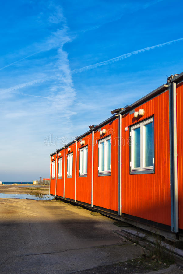Conventional shipping containers housing. On a bright sunny day stock photo