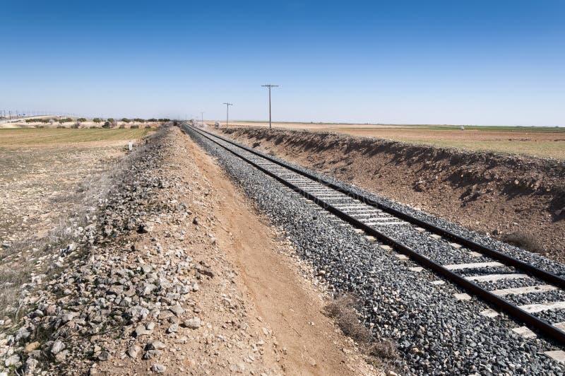 Conventioneel spoor in een landbouwlandschap stock foto's