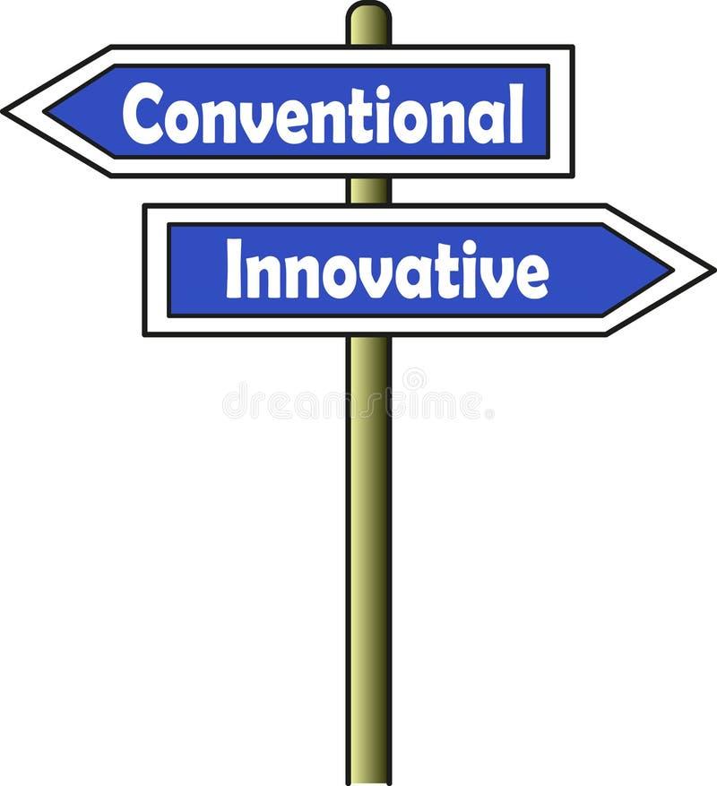 Conventionnel - bleu innovateur de plaque de rue illustration libre de droits