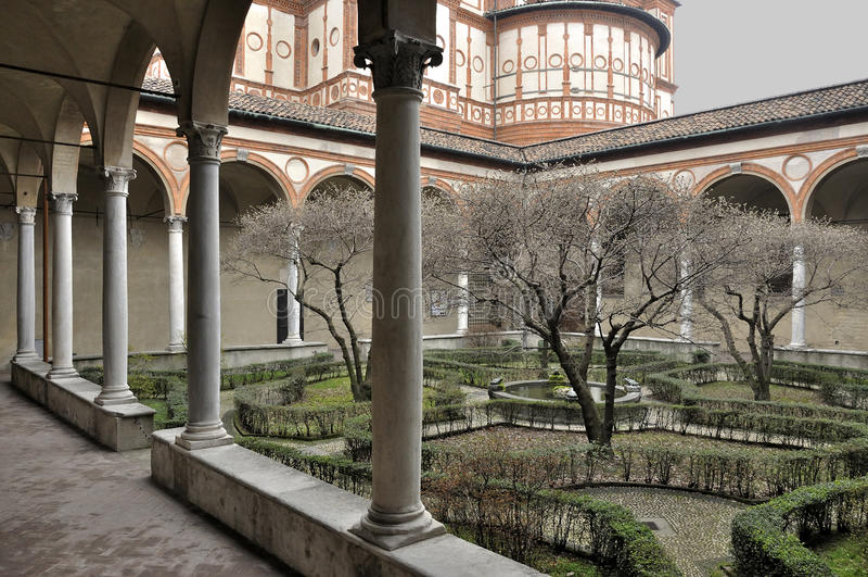 Convento del grazie del delle della Santa Maria, Milano immagine stock
