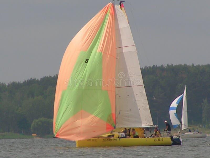 Convergence dangereuse des yachts Photo 7 de 14 Le réservoir république de Bielorussie de Zaslavskoe de mer de Minsk images libres de droits