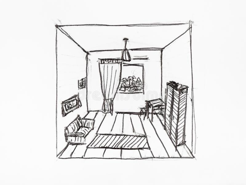 Convergence of perspective lines in appartment. Room hand-drawn by black ink on white paper stock illustration