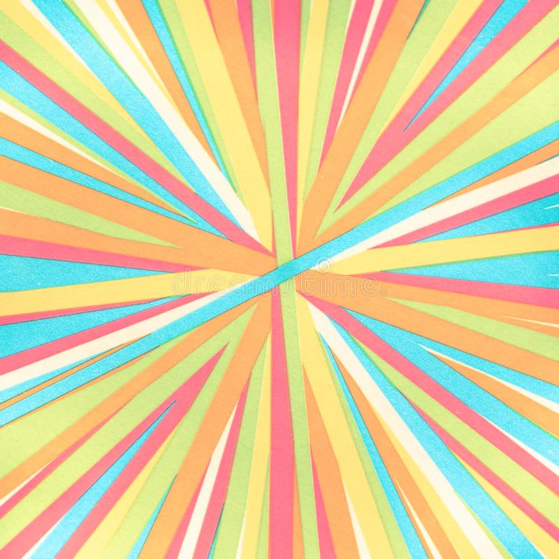 Converging lines - colorful stripes - Bright rainbow spectrum of colors radial converging lines stock photo