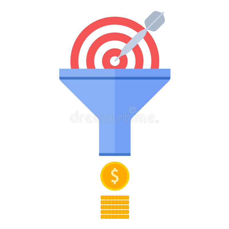 Converja o fluxo, a escolha de objetivos e o vetor eficaz fl do conceito do mercado ilustração do vetor