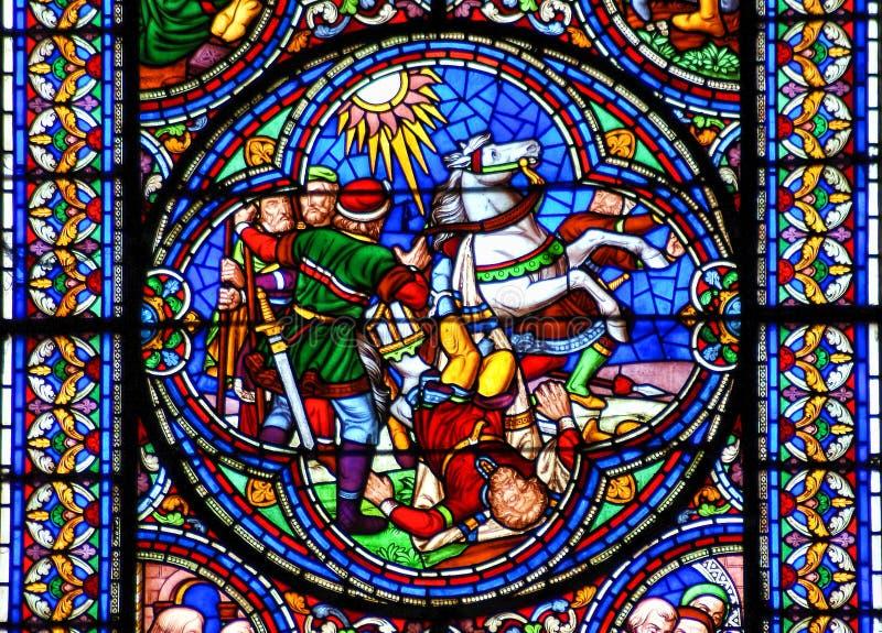 Conversão da janela de vitral de Saint Paul imagens de stock