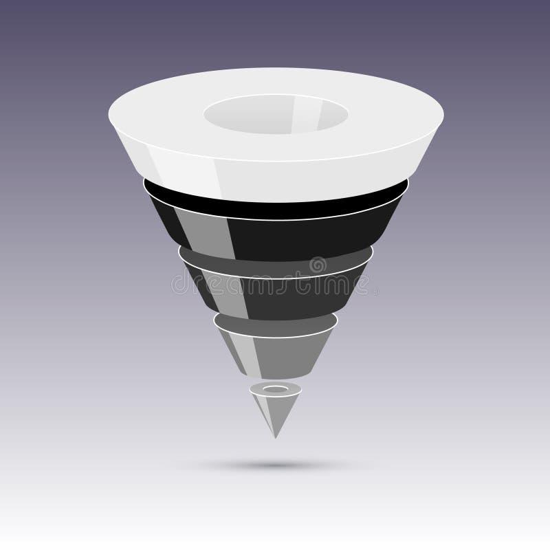 A conversão ou as vendas convergem 3d, gráficos de vetor ilustração royalty free