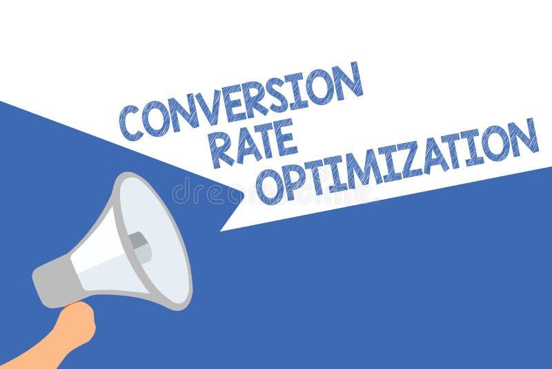 Conversão Rate Optimization do texto da escrita Sistema do significado do conceito para a porcentagem crescente do altifalante do ilustração stock