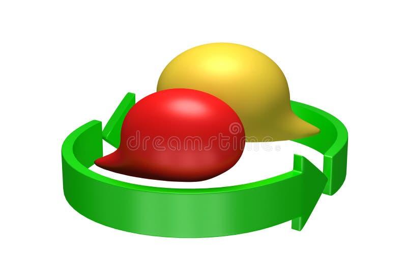A conversação balloons dentro da circular que recicla setas, ilustração 3D ilustração do vetor