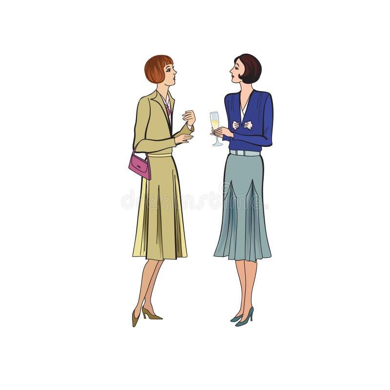 Conversação de duas mulheres no partido Vestido retro no estilo 19 do vintage ilustração stock