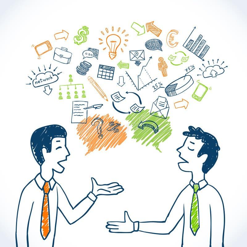 Conversação do negócio da garatuja ilustração royalty free
