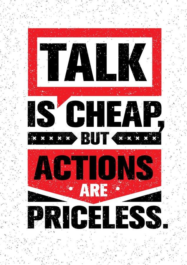 A conversa é barata, mas as ações são impagáveis Citações criativas inspiradores da motivação Conceito de projeto da bandeira da  ilustração royalty free