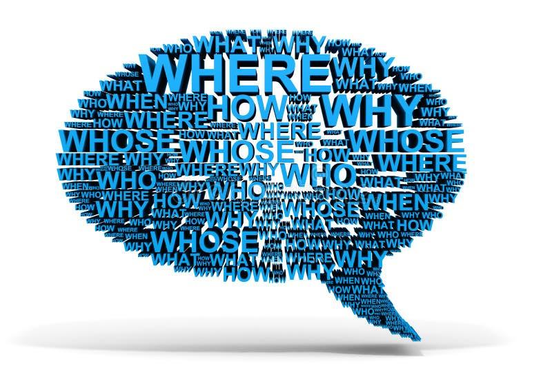 conversa azul da bolha 3D das perguntas. ilustração stock