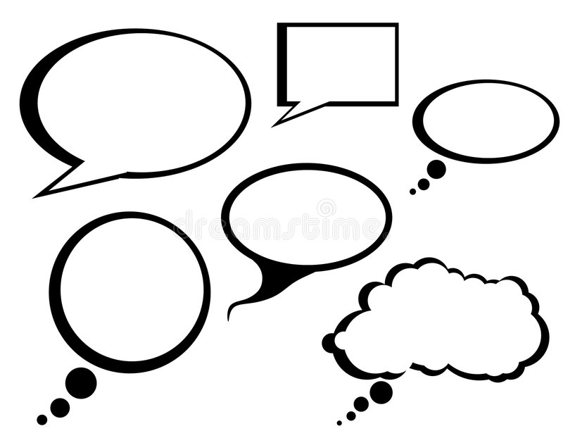A conversa cómica dos desenhos animados borbulha arte de grampo ilustração stock