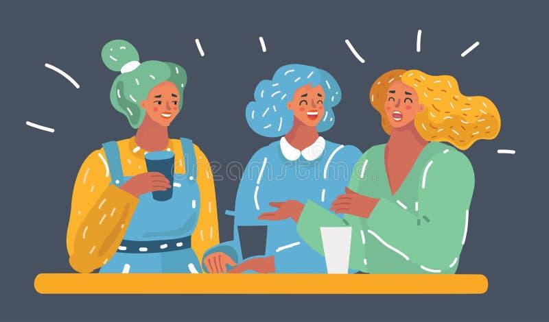 Conversa de três mulheres na tabela ilustração do vetor