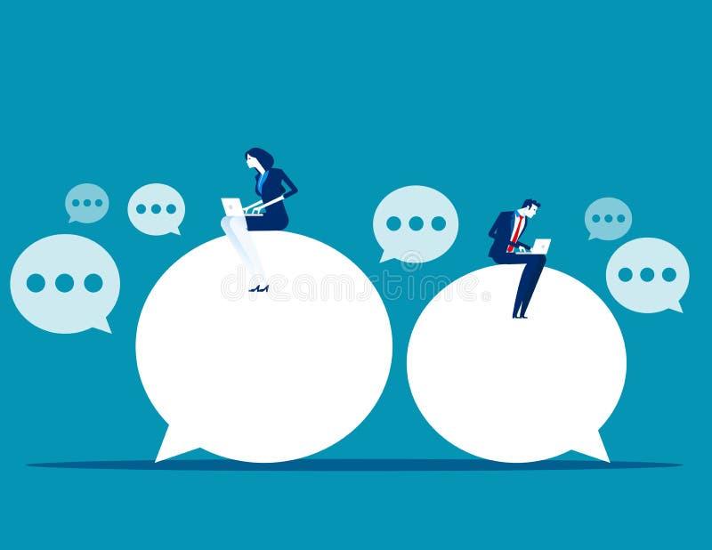 Conversa do bate-papo Executivos para enviar mensagens a compartilhar ideias Ilustração de aprendizagem em linha do vetor do negó ilustração do vetor