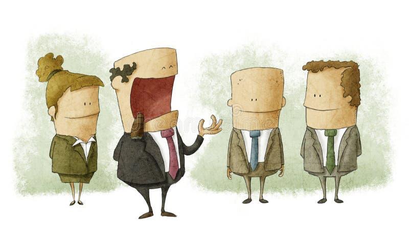 Conversa do chefe com empregados ilustração stock