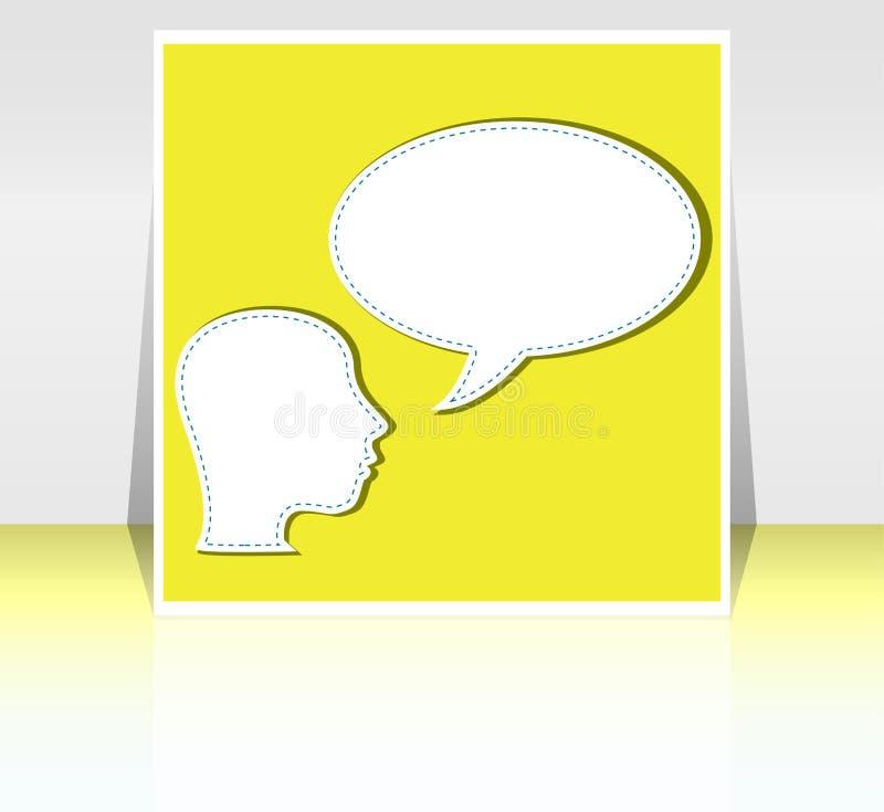 Conversa do homem de negócio na bolha em branco do discurso ilustração stock
