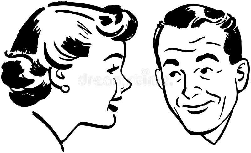 Conversa do homem e da mulher ilustração stock