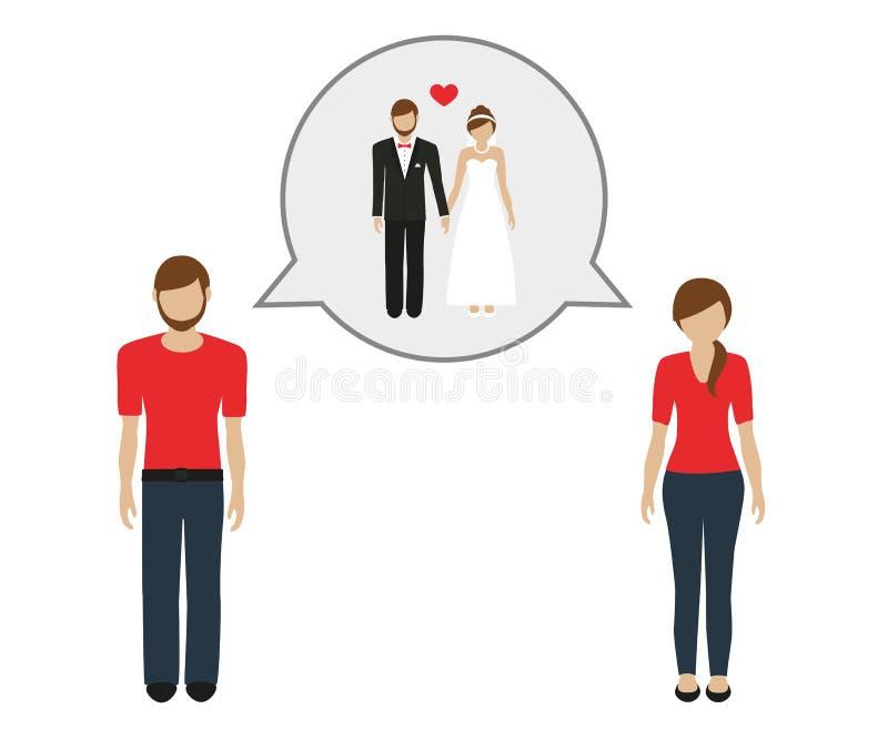 Conversa do homem e da mulher sobre casar-se ilustração do vetor