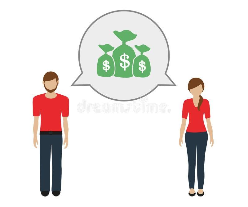 Conversa do homem e da mulher sobre o dinheiro ilustração royalty free